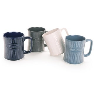 Signature Housewares Set of 4 Embossed Mugs (Option: Blue)