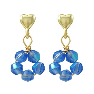 Luxiro Gold Finish Sterling Silver Crystal Beads Children's Heart Dangle Earrings