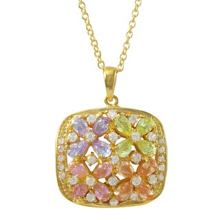 Luxiro Gold Finish Sterling Silver Multi-color Cubic Zirconia Flower Pendant Necklace