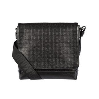 Salvatore Ferragamo Men's Black Leather Gancini Messenger Bag