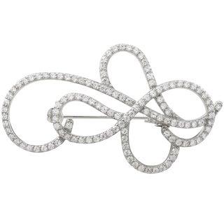 Luxiro Sterling Silver Cubic Zirconia Swirl Pin Brooch