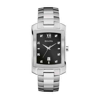 Bulova Men's 96D125 Diamond Watch - Silver