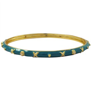 Luxiro Gold Finish Cubic Zirconia Blue Enamel XOXO Studded Bangle Bracelet