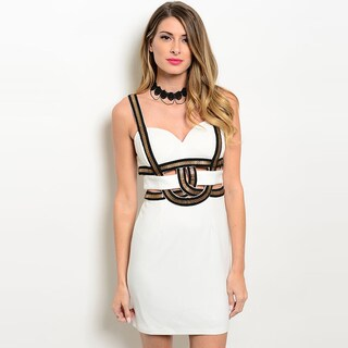 Shop The Trends Women's Sleeveless Sweetheart Neckline And Metallic Design Bodycon Dress