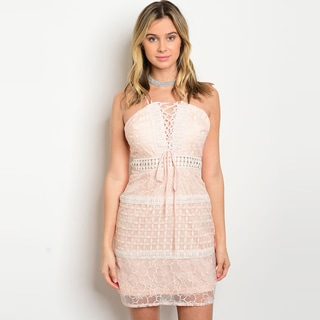 Shop The Trends Women's Double Spaghetti Strap Lace Dress