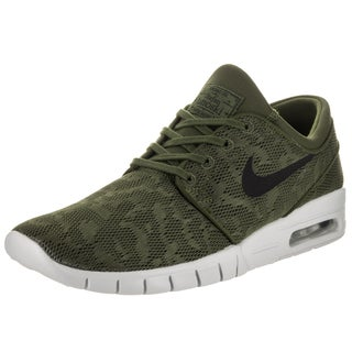 Nike Men's Stefan Janoski Max Green and Black Synthetic-leather Skate Shoes