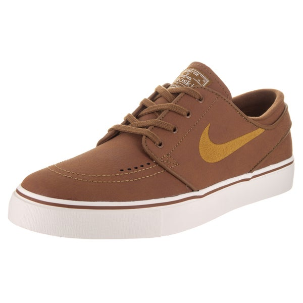 23d695444 Shop Nike Men s Zoom Stefan Janoski L Brown Leather Skate Shoes ...