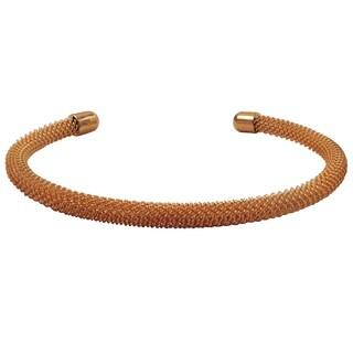 Luxiro Gold Finish Sterling Silver Mesh Cuff Bangle Bracelet