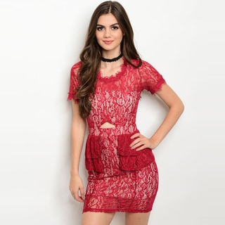 Shop the Trends Women's Lace Short-sleeve Round-neckline Bodycon Mini Dress