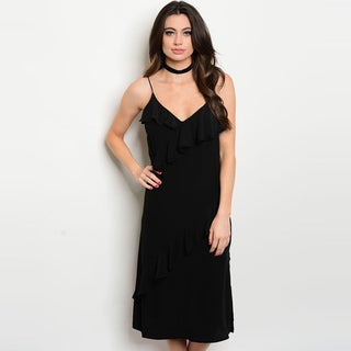 Shop the Trends Women's Spaghetti Strap Slip Midi Dress with V-neckline and Ruffle Details