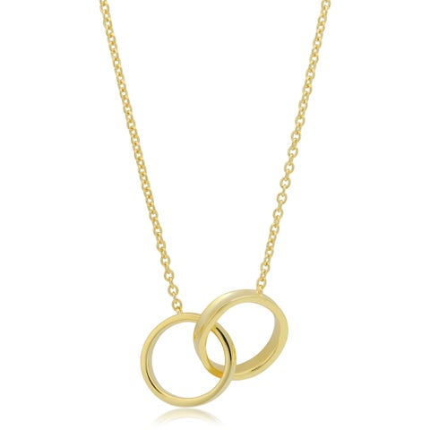 Fremada 14k Yellow Gold Over Sterling Silver Double Circle Necklace (18 inch)