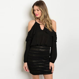 Shop The Trends Women's Black Long-sleeve Open-shouldered Banded-bottom Dress