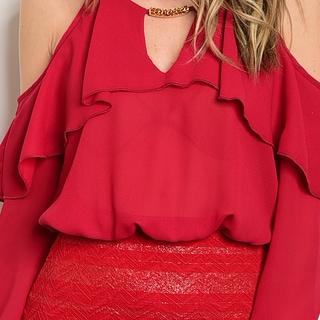 Shop The Trends Women's Black Long-sleeve Open-shouldered Banded-bottom Dress