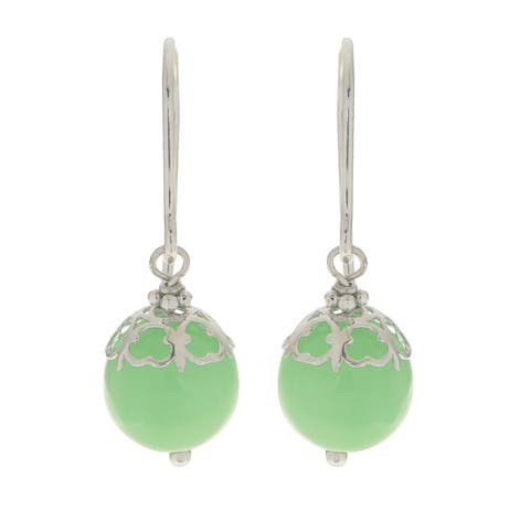 Gems For You Sterilng Silver Caged Jade Bead Earrings