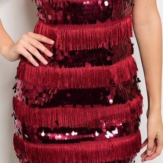 Shop The Trends Women's Sleeveless Sequined And Fringed Bodycon Dress