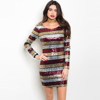 Shop The Trends Women's Sequined Long Sleeve Scoop Neckline Bodycon Dress