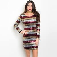 Shop The Trends Women's Sequined Long Sleeve Scoop Neckline Bodycon Dress