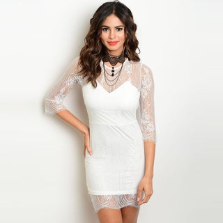 Shop The Trends Women's 3/4 Sheer Sleeve Nylon Lace Dress