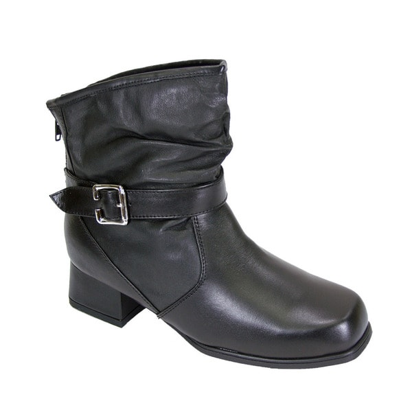 181d230d92b0 FIC PEERAGE Jess Women  x27 s Black Leather Extra Wide Ankle Dress Booties
