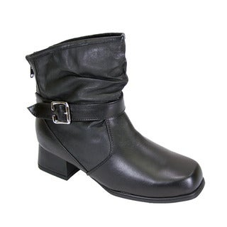 FIC PEERAGE Jess Women's Black Leather Extra Wide Ankle Dress Booties