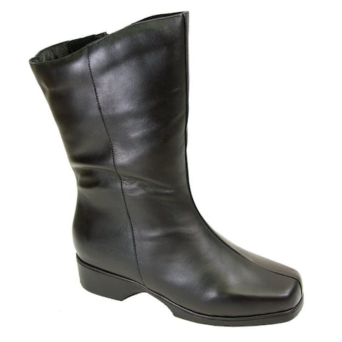Fic Peerage Women's Simone Black Leather Extra-wide Boots
