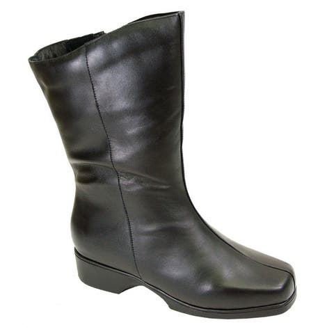 Fic Peerage Women's Simone Black Leather Extra-wide Boots