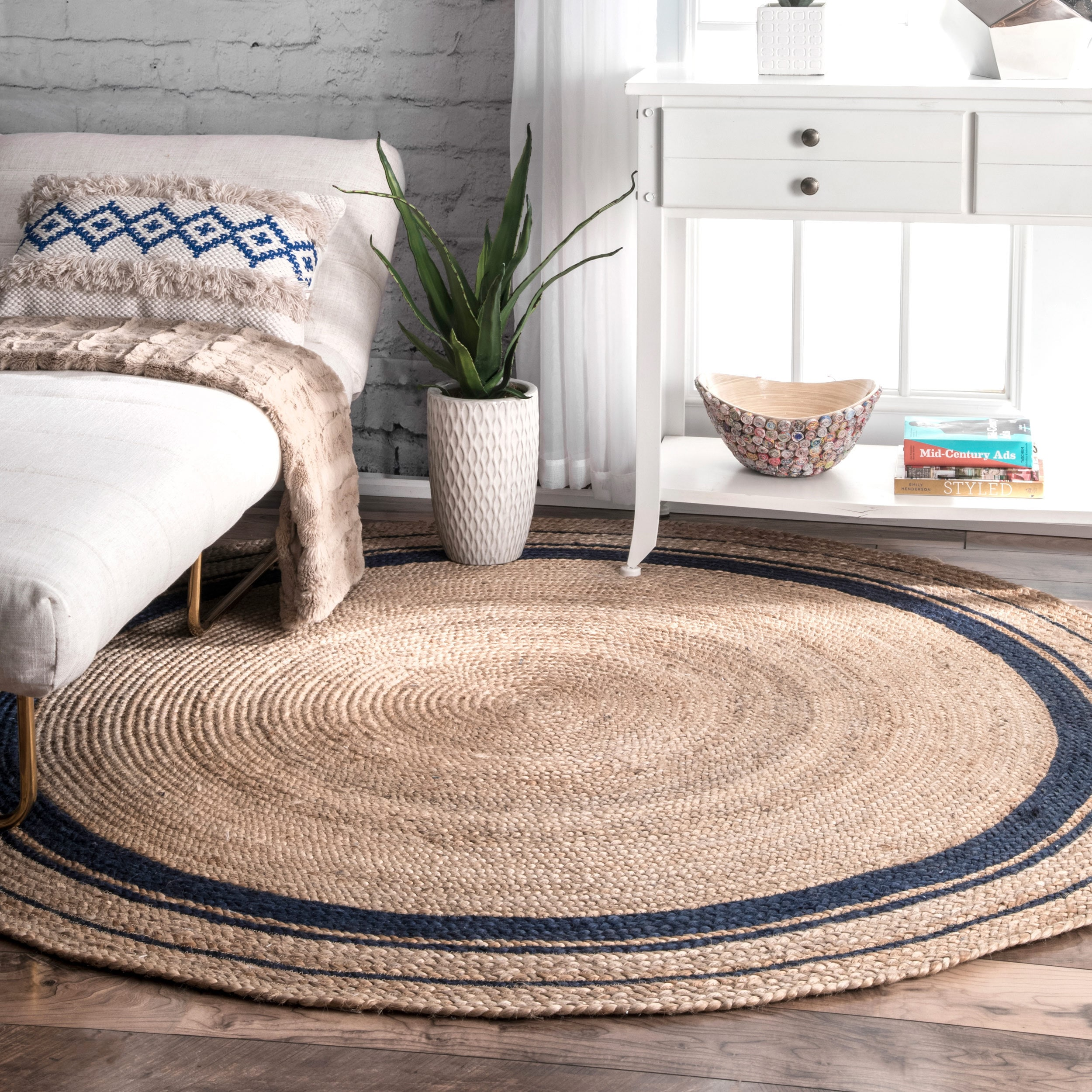 Nuloom braided natural fiber jute blue round rug 6