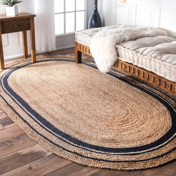 NuLOOM Braided Natural Fiber Jute Blue Oval Rug (5' X 8