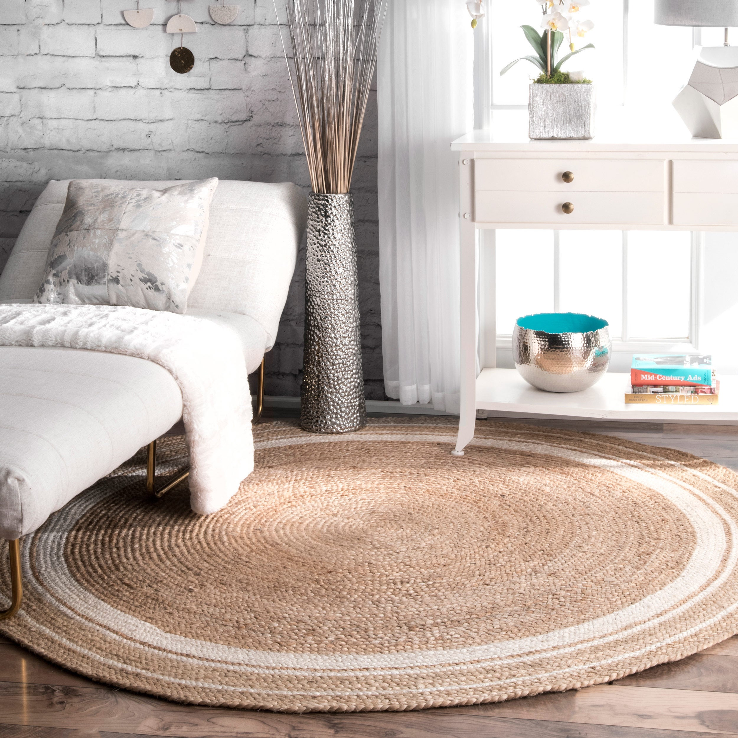 Nuloom braided natural fiber jute round rug 6
