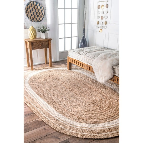 Oliver & James Cattelan Braided Natural Jute Area Rug - 5' x 8' Oval