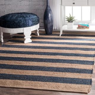 nuLOOM Handmade Flatweave Natural Fiber Jute Blue Thick Stripes Rug (5' x 8')