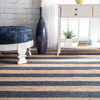 nuLOOM Handmade Flatweave Natural Fiber Jute Blue Thick Stripes Rug - 4' x 6'