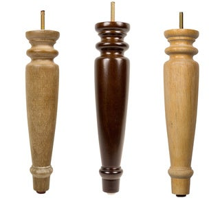 MJL Furniture Designs Large 11-1/4-inch Tall Reed Wooden Furniture Legs (Set of 4)