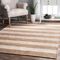 The Curated Nomad San Bruno Handmade Flatweave Natural Fiber Jute Thick Stripes Rug - 5' x 8'
