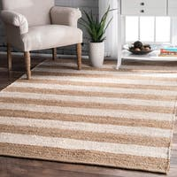 The Curated Nomad San Bruno Handmade Flatweave Natural Fiber Jute Thick Stripes Area Rug - 4' x 6'