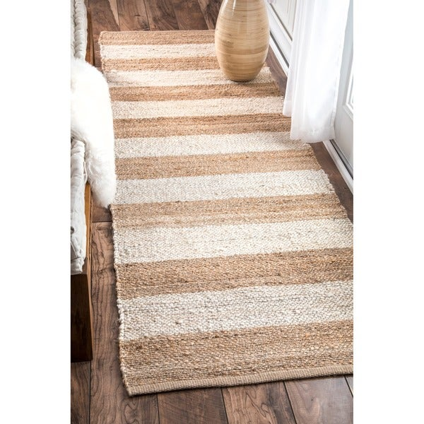 Nuloom handmade flatweave natural fiber jute thick stripes for Thick area rugs sale