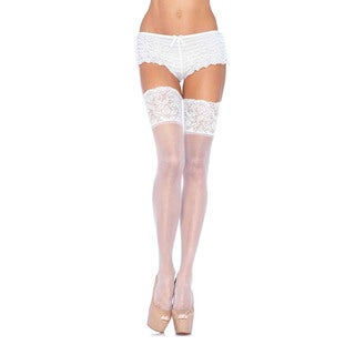 Leg Avenue Lycra Sheer Thigh High with 5-inch Silicone Lace Top