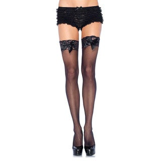 Leg Avenue Sheer Thigh-high Lace Top with Satin Bow