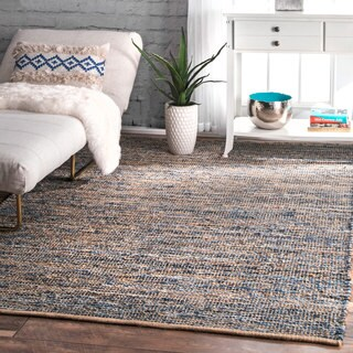 nuLOOM Handmade Flatweave Natural Fiber Jute and Denim Rug (7'6 x 9'6)