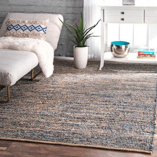 The Curated Nomad Konoval Handmade Flatweave Natural Fiber Jute and Denim Area Rug - 5' x 8'
