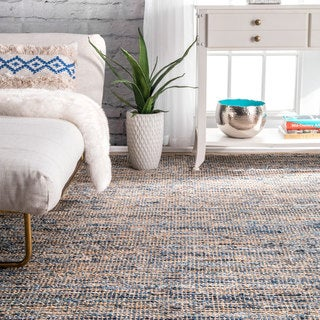 nuLOOM Handmade Flatweave Natural Fiber Jute and Denim Rug (4' x 6')