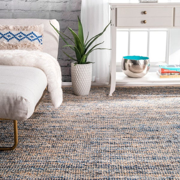 Nuloom Handmade Flatweave Natural Fiber Jute And Denim Rug