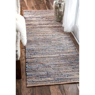 nuLOOM Handmade Flatweave Natural Fiber Jute and Denim Runner Rug (2'6 x 8')