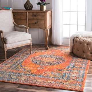 nuLOOM Persian Traditional Medallion Orange Rug (8' x 10')