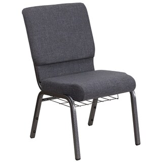 HERCULES Series 18.5-inch Wide Fabric Church Chair with 4.25-inch Thick Seat, Book Rack - Vein Frame