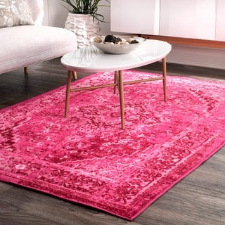 nuLOOM Traditional Vintage Inspired Overdyed Fancy Pink Rug (6'7 x 9')