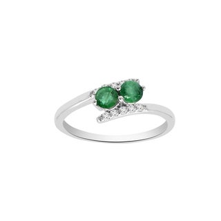 14k White Gold Emerald and 1/10ct TDW White Diamond Two Stone Ring (H-I, SI1-SI2)
