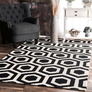 nuLOOM Handmade Trellis Wool Black and White Rug (7'6 x 9'6)