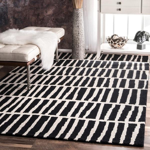 Nuloom Black And White Rug: NuLOOM Handmade Geometric Wool Black And White Rug (5' X 8