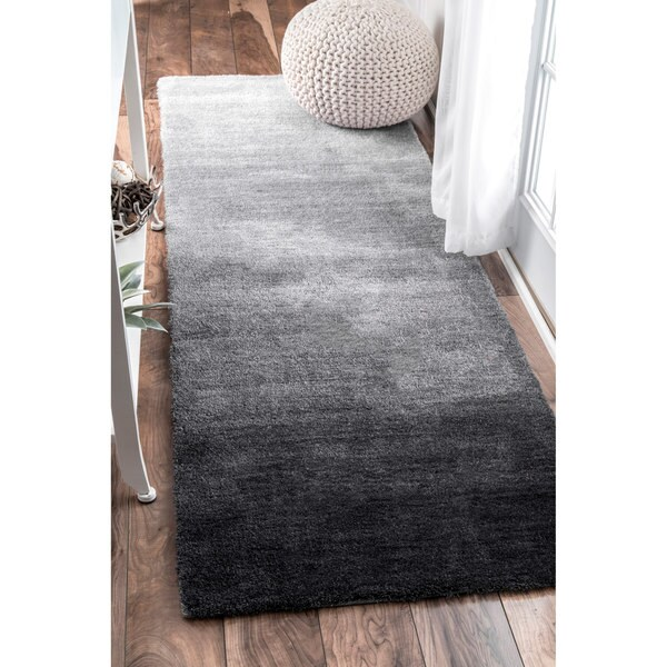 Shop Nuloom Handmade Soft And Plush Ombre Shag Grey Runner